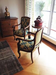Tapisserie sur fauteuil différente des 2 côtéso